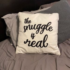 """""""The snuggle is real"""" throw pillow"""